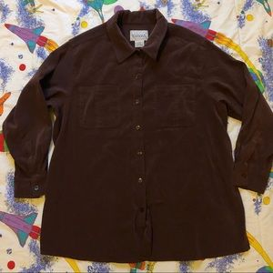 VTG 90s Brown Faux Suede Button Up Shirt